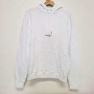 Saint Laurent Logo Hooded Sweater - White